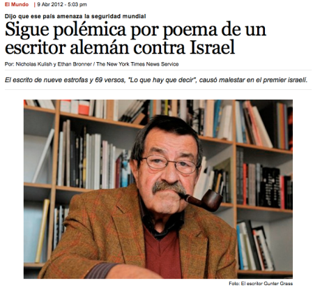 Gunter Grass critica a Israel: nuevo orden mundial